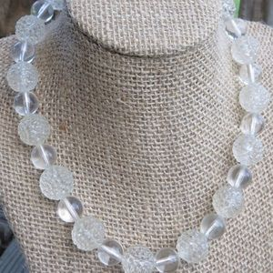 Vintage Clear Lucite Berry Cluster Bead Necklace